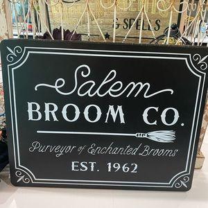 Target bullseye wood witch broom Salem sign NWT